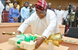 Mr Gboyega Oyetola, the governor of Osun State...presenting the budget 'package'...