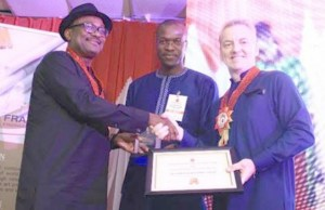 L-R: Executive Secretary, Nigerian Content Development and Monitoring Board, Simbi Wabote; General Manager, External Relations, Shell Petroleum Development Company (SPDC) Igo Weli; and SPDC's General Manager, Contracting and Procurement, Antony Elis, at the Recent Petroleum Technology Association of Nigeria Award Night in Port Harcourt where SPDC emerged local content company of the year…