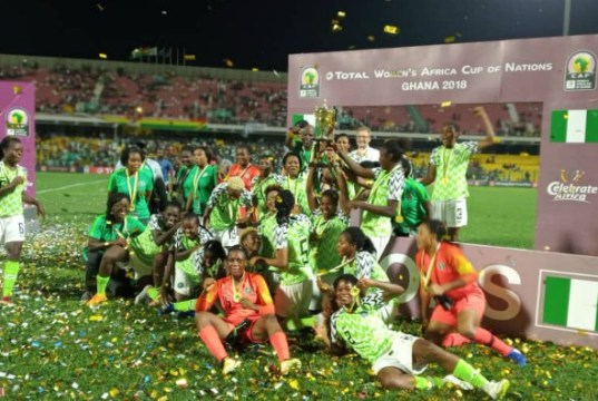 ...the Super Falcon after their successful flight in Ghana on Saturday...(completesportsnigeria.com photo)