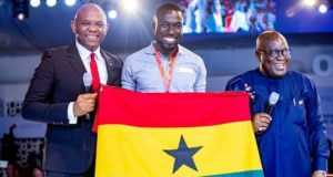 Tony O. Elumelu, Founder of the Tony Elumelu Foundation and President Nana Akufo-Addo, President of Ghana pose with a beneficiary of the TEF Entrepreneurship Programme at the 2018 TEF Entrepreneurship Forum....