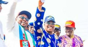 L-R: Chief Adebayo Adelabu, Governor Abiola Ajimobi and Chief Akin Oke, the chairman of APC in Oyo State...