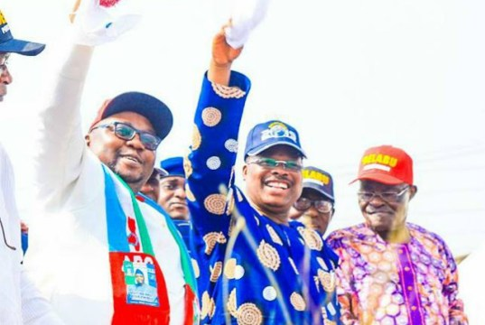 L-R: Chief Adebayo Adelabu, Governor Abiola Ajimobi and Chief Akin Oke, the chairman of APC in Oyo State...