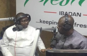 ...Chief Adebayo Adelabu...left, with Mayo Isaac Brown, the host of the programme...