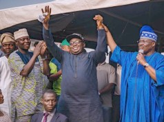 Oyo APC's guber candidate, Chief Adebayo Adelabu...being presented to the people by the leader of the party in Oyo State, Senator Abiola Ajimobi, right...
