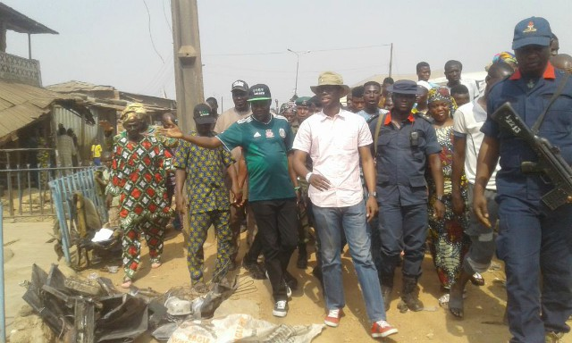 ADC's candidates...Hon Adedapo Lam-Adesina, Hon Akeem Ige and others during the visit to Idi Arere...