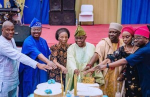 L-R: Mr Adedamola Are, Governor of Oyo State, Senator Abiola Ajimobi; wife of the host, Chief Bisi Are; host, Dr Lekan Are; Orangun of Oke Ila, Oba Adedokun Abolarin; daughter of the host, Mrs Olufunke Igun; and Mr Adenola Igun, during the 85th birthday of Are and public presentation of a book, 'The Right Way' at Kakanfo Inn and Conference Centre, in Ibadan...