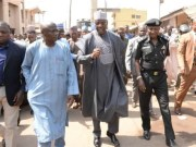 Governor Abdulfatah Ahmed of Kwara State, middle, with others, while inspecting the affected areas...