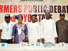 L-R: Mr David Olufemi Ogunlola of All Grassroot Alliance, Mrs Omobosola Golohor of Democratic Peoples Party, Mr Olatunji Sadiq of Labour Party, Engr Seyi Makinde of Peoples Democratic Party and Mr Sarafadeen Alli of Zenith Labour Party at the debate held at the Civic Center, Ibadan…