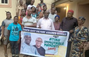 A cross section of members of the South East Zone of Atiku Immutable Mandate (AIM) Group led its Zonal Leader MaziOmife I. Omife at its Victory Assured Summit held at IchieUkwu Event Centre in Enugu