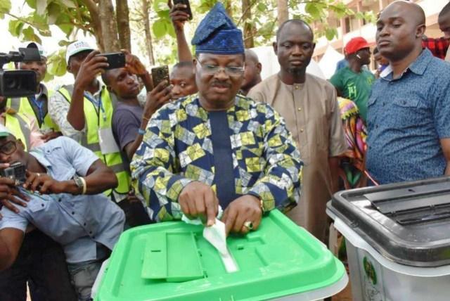 Governor Abiola Ajimobi...casting his vote...