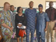 L-R: Olanrewaju Agiri, Parrots' Sports Editor, Mr Emmanuel Olaleye, Mrs Anuolu Gade, Mr Adewale Adesina (all from Oyo Multicourt), Olayinka Agboola and Wole Adejumo...during the visit...