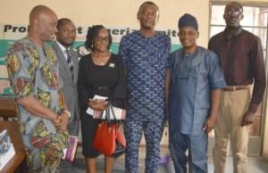 L-R: Olanrewaju Agiri, Parrots' Sports Editor, Mr Emmanuel Olaleye, Mrs Anuolu Gade, Mr Adewale Adesina (all from Oyo Multicourt), Olayinka Agboola and Wole Adejumo...during the visit...