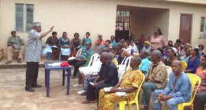 "MaziOmife I. Omife, leader of Atiku Immutable Mandate (AIM) Group addressing members of the Group during the South East Zone Advocacy and Stakeholders meeting on ""Voting Right"" in Awka…"