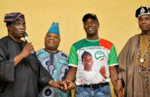 L-R: Former Minister for Power and Steel, Elder Wole Oyelese, Senator Ademola Adeleke, Engr Seyi Makinde and President of Baale's in Egbeda local government, Alhaji Rasheed Adabaale during the PDP campaign in Egbeda local government area of Oyo State