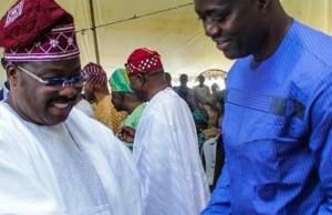 Governor Abiola Ajimobi, left, with Governor-Elect Seyi Makinde...