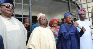 From left, All Progressives Congress (APC) State Party Chairman, Prince Gboyega Famodun, Former National Chairman of APC, Chief Adebisi Akande, Governor of Osun, Mr Gboyega Oyetola, and his deputy, Mr Gboyega Alabi, during the event organised by Chief Adebisi Akande, at his country home in Ila Orangun…