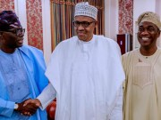President Muhammadu Buhari, middle, with Governor Elect of Lagos State Babajide Sanwoolu, left, and Deputy Governor Elect of Lagos State Femi Hamzat…