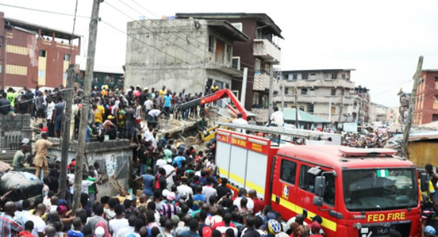 ...scene of the collapsed building in Lagos...