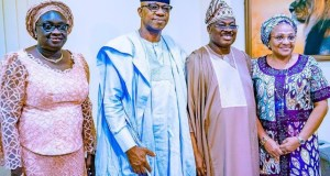 L-R: Ogun State Deputy Governor-elect, Mrs Noimot Salako-Oyedele; Governor-elect, Prince Dapo Abiodun; Oyo State Governor, Senator Abiola Ajimobi; and his wife, Florence, during Abiodun's courtesy visit to the governor, at his private residence, Oluyole, Ibadan... on Saturday…