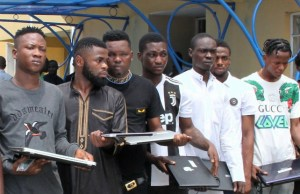 Some of the suspected internet fraudsters arrested by EFCC...