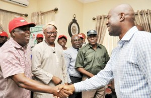 Oyo governor elect, Engr Seyi Makinde (right) with Com Waheed Olojede (left), TUC State chairman, Com Emmanuel Ogundiran and others during the visit..