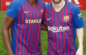 Assisat Oshoala, left, with Lionel Messi...