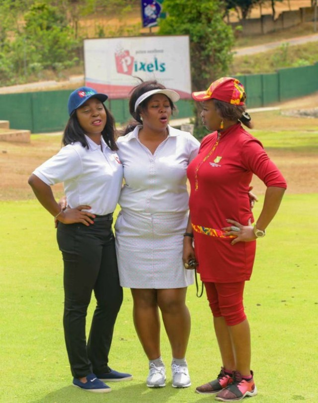 Photo captions: (left to right) Omolaraeni Olaosebikan, CEO Pixels Digital Photo Lab., Dr. Tope Farombi, the lady captain Ibadan Golf Club and Sumbo Oshile, former Lady Captain and member planning committee 2019 Ladies Open Tournament…