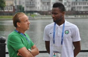 Mikel Obi, right, with his coach, Gernot Rohr...