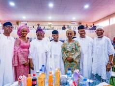 L-R: Ogun State Governor-elect, Prince Dapo Abiodun; his wife, Bamidele; Oyo State Governor, Senator Abiola Ajimobi; Vice President, Prof. Yemi Osinbajo; his wife, Dolapo; Senator Godswill Akpabio; and immediate past Governor of Osun State, Ogbeni Rauf Aregbesola, during the service…