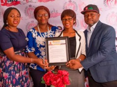 L-R: CEO, Pixels Photography, Omolaraeni Olaosebikan, Deborah-Adebola Moody, Head of Operation, Oluwadolapo Isola, Managing Director and Head of Marketing, Ikechukwu Osuya displaying the certificate of operation from BOTAVED…