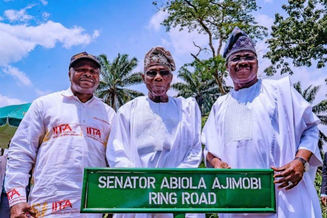 L-R: Director-General, International Institute of Tropical Agriculture, Dr Nteranya Sanginga; former President Olusegun Obasanjo and Governor of Oyo State, Senator Abiola Ajimobi, during the unveiling of the institute's circular road named after the governor, at IITA, Ibadan...