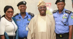 L-R: Oyo State Head of Service, Mr Hannah Ogunesan; Deputy Commissioner of Police, Zone 11, Mr Monday Kuryas; state Governor, Senator Abiola Ajimobi; and Assistant Inspector-General of Police in charge of Zone 11, Mr Leye Oyebade, during the visit of the AIG to the governor, in his office, Ibadan... on Wednesday