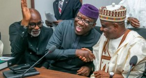 ...Dr Kayode Fayemi, middle...and other colleagues sharing the mood of the day...