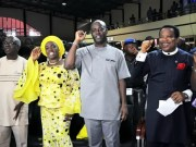 R-L: Pastor Femi Emmanuel of Living Spring Chapel, Oyo State governor elect, Mr Seyi Makinde, his wife, Omini and deputy governor elect, Mr Rauf Olaniyan at the church…