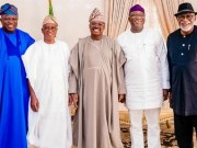 L-R: Southwest Nigeria State Governors: Mr Akinwumi Ambode (Lagos State); Mr Gboyega Oyetola (Osun State); Senator Abiola Ajimobi (Oyo State); Dr Kayode Fayemi (Ekiti State); and Mr Oluwarotimi Akeredolu (Ondo State)…after the meeting…