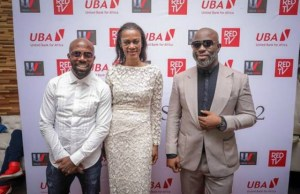 Co-owner Urban Vision Limited, Akins Akinkugbe; Group Head Corporate Communications/ Executive Producer, The Men's Club, Bola Atta and Director The Men's Club Tola Odunsi, during the Season 2 Premiere of the movie…