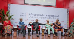 L-R: Chairman of Ghana's Convention People's Party, and daughter of Mr. Kwame Nkrumah, Ms Samia Nkrumah; Nobel Laureate, Professor Wole Soyinka; Group Chairman, UBA Plc, Mr. Tony Elumelu; Guinean Historian and playwright, Professor, Djibril Tamsir Niane; Afro musician, Mr. Femi Kuti; and Legal Practitioner and Moderator, Ms. Ayo Obe, during the panel discussion themed 'Africa's History Redefined, our past, the path to the future,' organised by UBA to mark Africa's Day in Lagos…