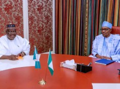 ...Senator Ahmed Lawan, left, with President Muhammadu Buhari...during the meeting...
