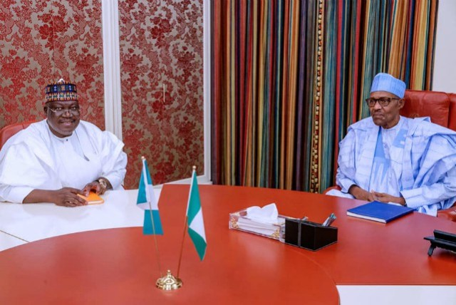 ...Senator Ahmed Lawan, left, with President Muhammadu Buhari...during the meeting...