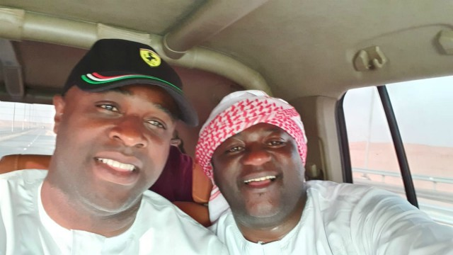 Evg Ajibola Ogunkeyede, right, with Femi Adebayo...having the best of times...in Oman...