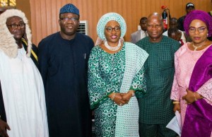 L-R: Newly inaugurated Speaker, Ekiti State House of Assembly, Rt. Hon. Funminiyi Afuye; Ekiti State Governor, Dr Kayode Fayemi; his wife, Erelu Bisi Fayemi; State Chairman, All Progressives Congress (APC), Barr Paul Omotoso; and newly elected House Whip, Hon. Bunmi Adelugba, at the inauguration of the sixth assembly of the Ekiti State House of Assembly in Ado-Ekiti…on Thursday