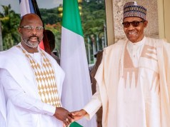 President Muhammadu Buhari, right, with the President of Liberia, Mr George Weah...on Thursday in Abuja...