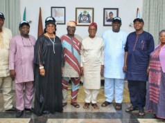 L-R: Ijesa South Federal Constituency, Hon Babatunde Lawrence Ayeni; Osogbo Federal Constituency, Hon Bukola Oyewo; Irewole Federal Constituency, Hon Mrs Taiwo Olukemi Oluga; Ila Federal Counstituency, Hon Femi Fakeye; Governor of the State of Osun, Mr Gboyega Oyetola; Ifelodun Federal Constituency, Hon Rasheed Olalekan Afolabi; Iwo Federal Constituency, Hon Yinusa Amobi and Supervisor for federal matters, Hon Miss Idiat Babalola, during the visit…