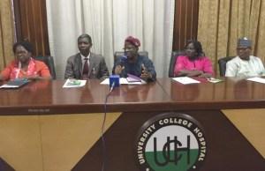 L-R: Mrs Yemisi Matthew, Prof Victor Akinmoladun, the CMAG, Prof Abiodun Ilesanmi, his wife, Dr Bola Otegbayo and Mr Yemi Shiyanbola, the Director of Administration...at the briefing...