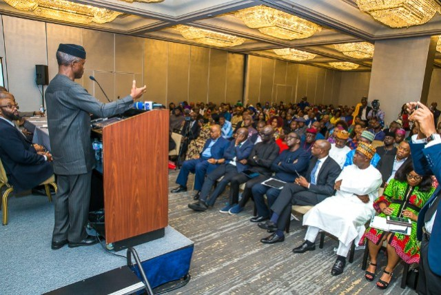 Professor Yemi Osinbajo…during a question and answer session at the Town Hall meeting…in New York…
