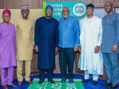 …governors of Western Nigeria…L-R: Mr Gboyega Oyetola of Osun, Babajide Sanwo-Olu of Lagos, Dr Kayode Fayemi of Ekiti, Arakunrin Oluwarotim Akeredolu of Ondo, Mr Dapo Abiodun of Ogun and Engr Seyi Makinde of Oyo…all ready to jaw-jaw on security issues…