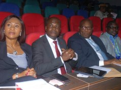 L-R: Regional Director, United Bank for Africa Plc, Ms Emem Usoro; Executive Director and Guest Lecturer, Mr. Liadi Ayoku; Deputy Vice Chancellor, Lagos State University(LASU), Prof. Oyedamola Oke; and Registrar, LASU, Mr. Yinka Asuni during the 2019 Annual Guest Lecture of the Faculty of Management Sciences (FMS) delivered by Mr Liadi titled: The Future of Finance; Technology at Play, held at the University campus in Ojo…