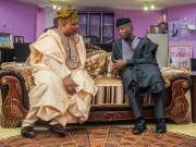 Prof Yemi Osinbajo, right, with the Akarigbo of Remo Land, Oba Babatunde Ajayi…