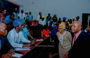 …Head of Service, Mrs. Amidat Ololade Agboola (second right) and the Permanent Secretary, Ministry of Information, Culture and Tourism, Dr. Bashir Olanrewaju (right) welcoming some participants/stakeholders before the commencement of the meeting...