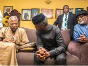 L-R: Pa Reuben Fasoranti, Vice President Yemi Osinbajo and Governor Oluwarotimi Akeredolu...